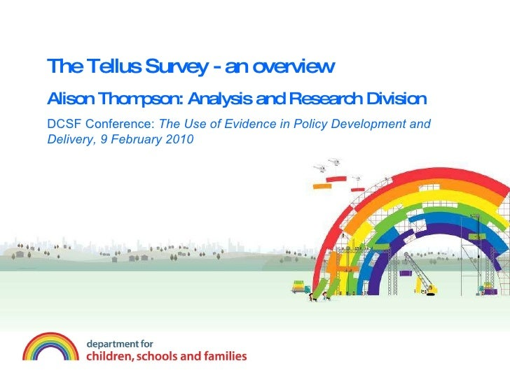 The Tellus Survey - an overview Alison Thompson: Analysis and Research Division DCSF Conference:  The Use of Evidence in P...