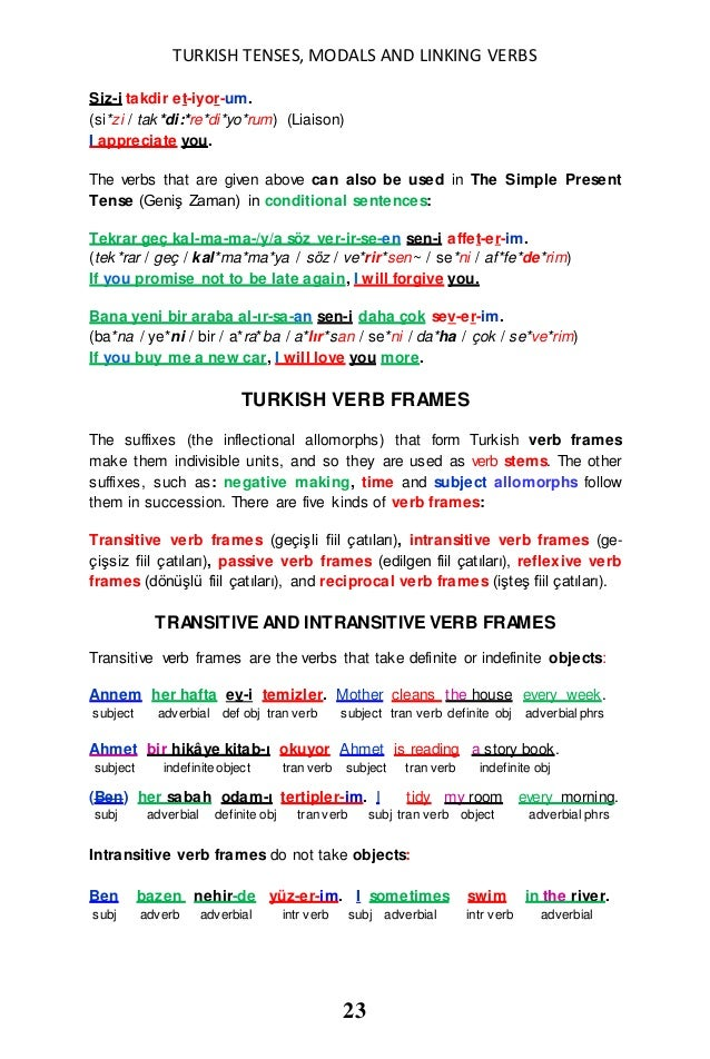 Linking Verbs List 23 Turkish tenses, modals and linking verbs in ...