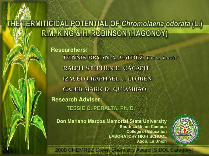 Researchers:Research Adviser:     TESSIE Q. PERALTA, Ph. D. Don Mariano Marcos Memorial State University                  ...