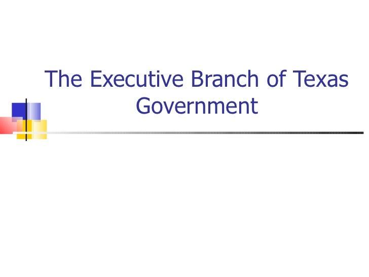 The Executive Branch of Texas        Government