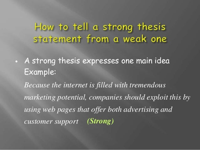what makes a weak thesis statement