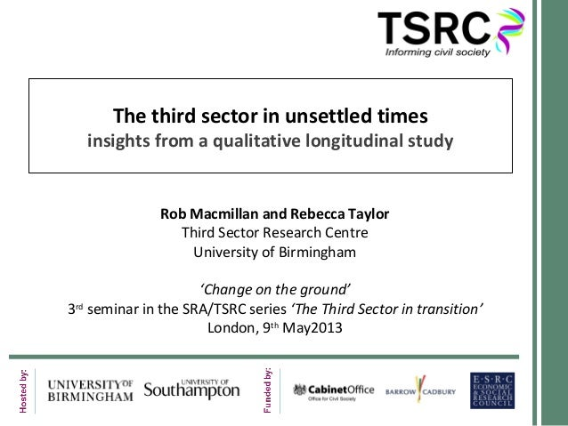 The third sector in unsettled timesinsights from a qualitative longitudinal studyRob Macmillan and Rebecca TaylorThird Sec...