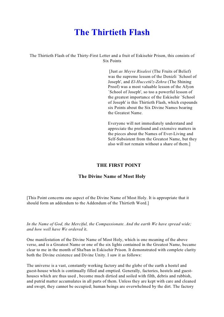 The Thirtieth Flash   The Thirtieth Flash of the Thirty-First Letter and a fruit of Eskisehir Prison, this consists of    ...