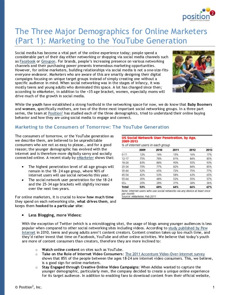 The Three Major Demographics for Online Marketers(Part 1): Marketing to the YouTube GenerationSocial media has become a vi...