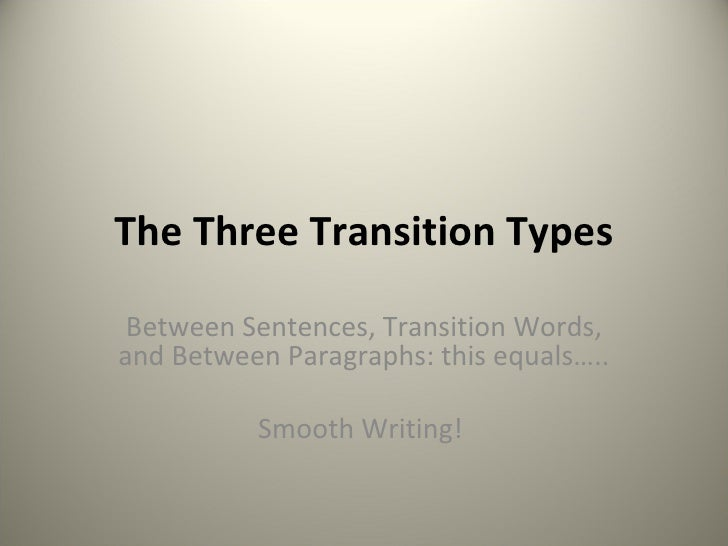How would I write a transition sentence in my paragraph?