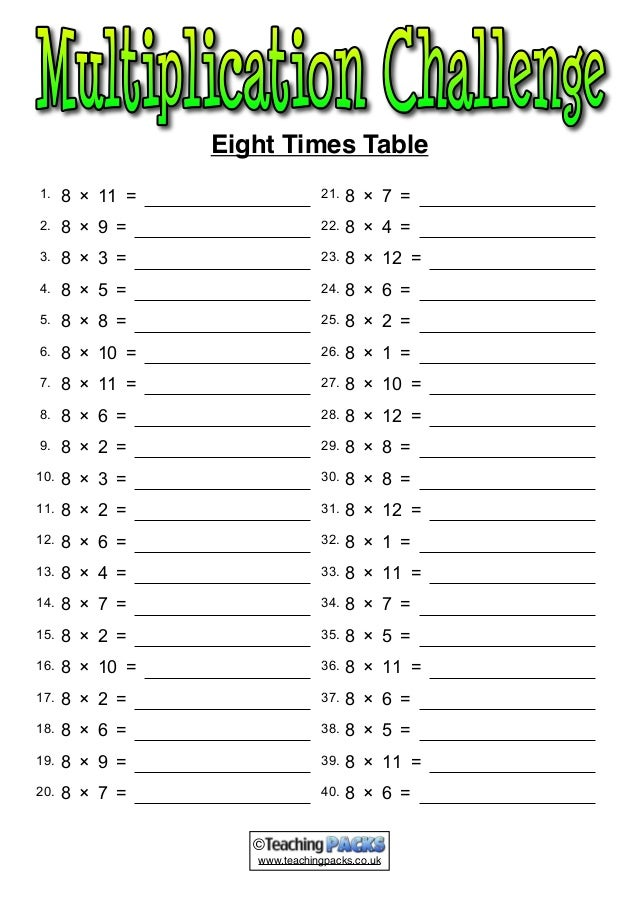 The times tables pack for Table 6 7 8 9