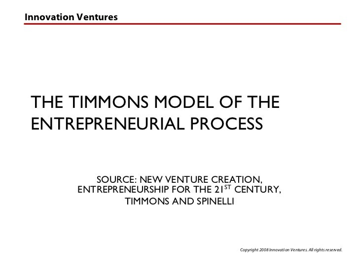 Innovation Ventures      THE TIMMONS MODEL OF THE  ENTREPRENEURIAL PROCESS               SOURCE: NEW VENTURE CREATION,    ...