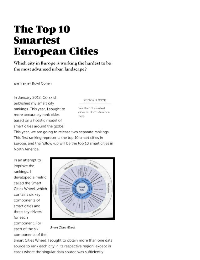 The Top 10 Smartest European Cities