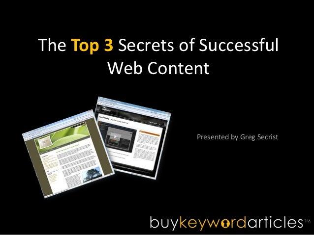 The top 3 secrets of successful web content