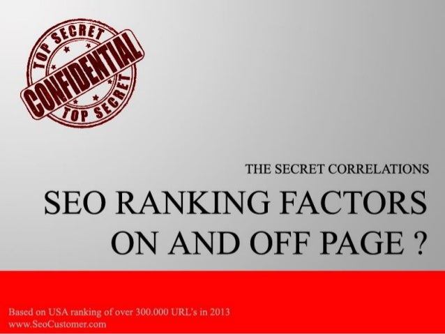 The top secret seo ranking factor correlation