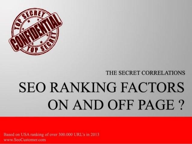 The top secret seo ranking factor correlation