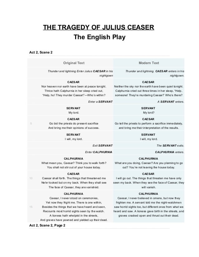THE TRAGEDY OF JULIUS CEASER                                The English PlayAct 2, Scene 2                       Original ...