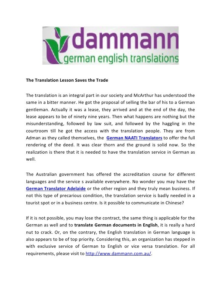 The Translation Lesson Saves the TradeThe translation is an integral part in our society and McArthur has understood thesa...