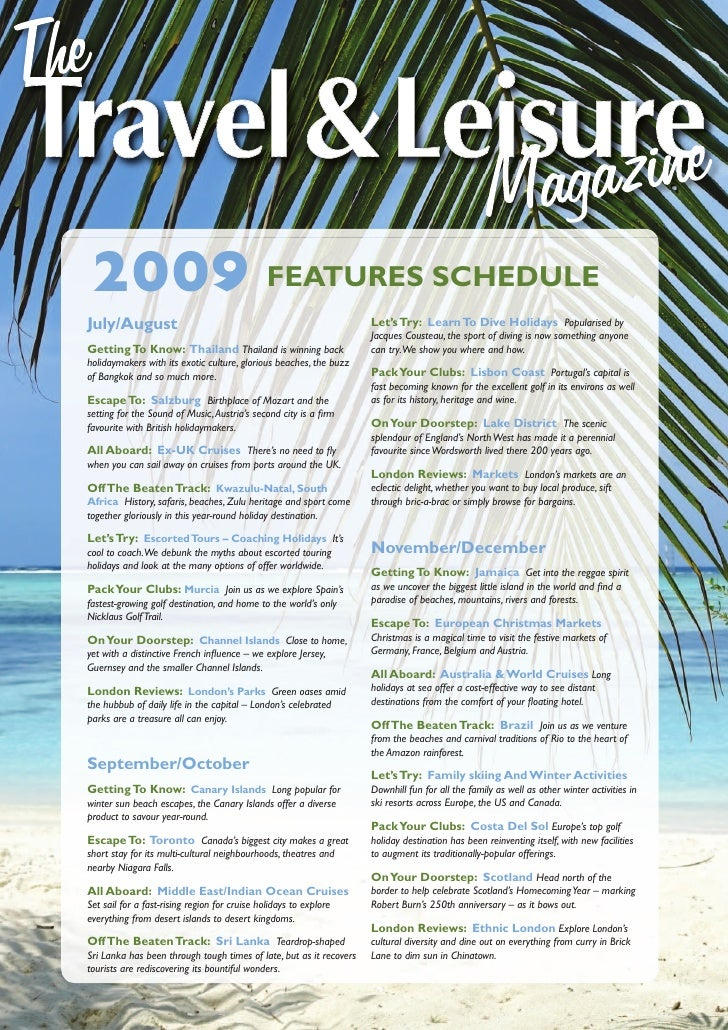 2009 FEATURES SCHEDULE July/August                                                          Let's Try: Learn To Dive Holid...
