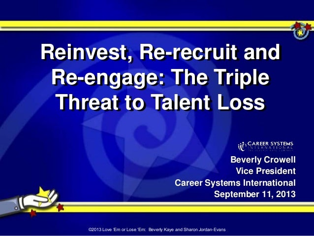 Beverly Crowell Vice President Career Systems International September 11, 2013 Reinvest, Re-recruit and Re-engage: The Tri...