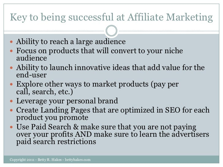 keys for success in affiliate marketing