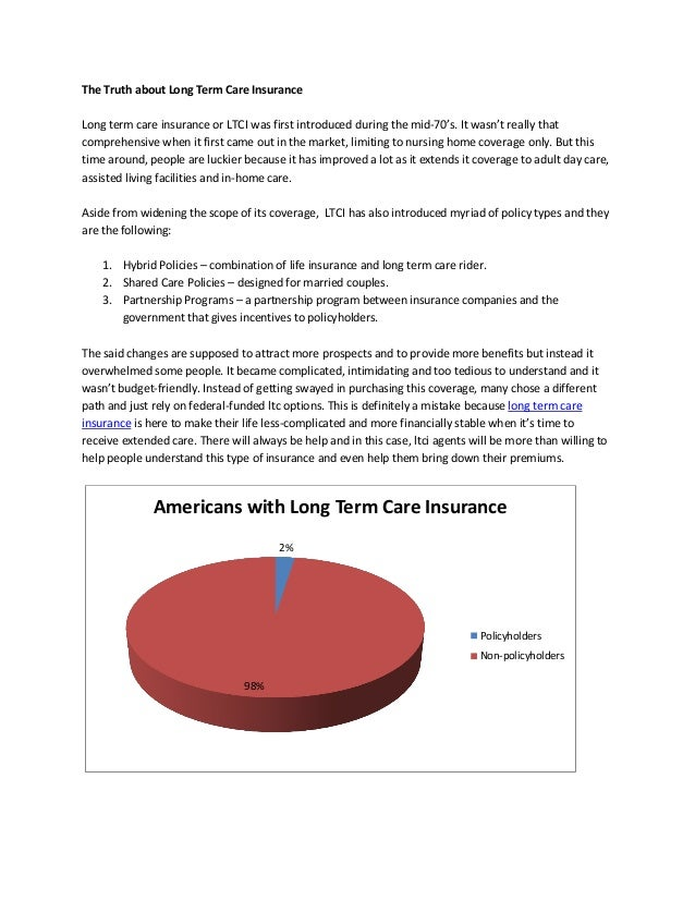 The Truth about Long Term Care InsuranceLong term care insurance or LTCI was first introduced during the mid-70's. It wasn...