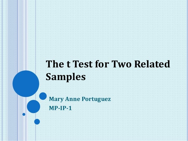 Mary Anne Portuguez MP-IP-1 The t Test for Two Related Samples