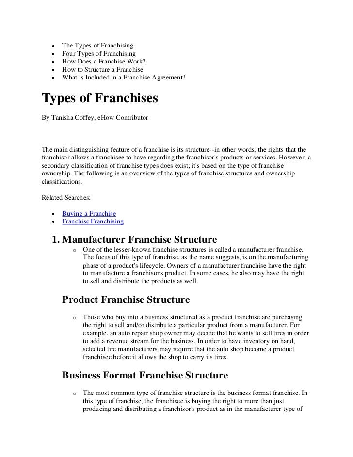 The types of franchising
