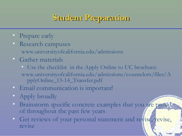 transfer student application essay