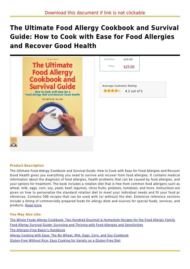 The ultimate food allergy cookbook and survival guide  how to cook with ease for food allergies and
