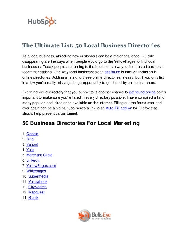 The Ultimate List - 50 Local Business Directories