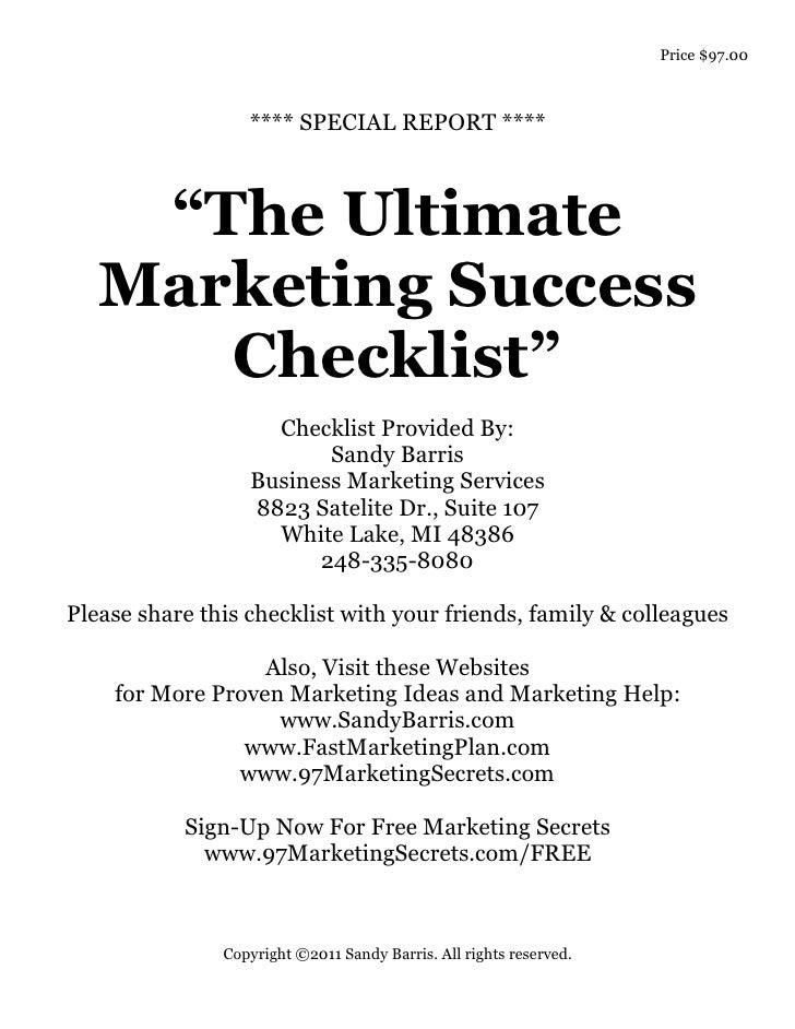 The Ultimate Marketing Success Checklist