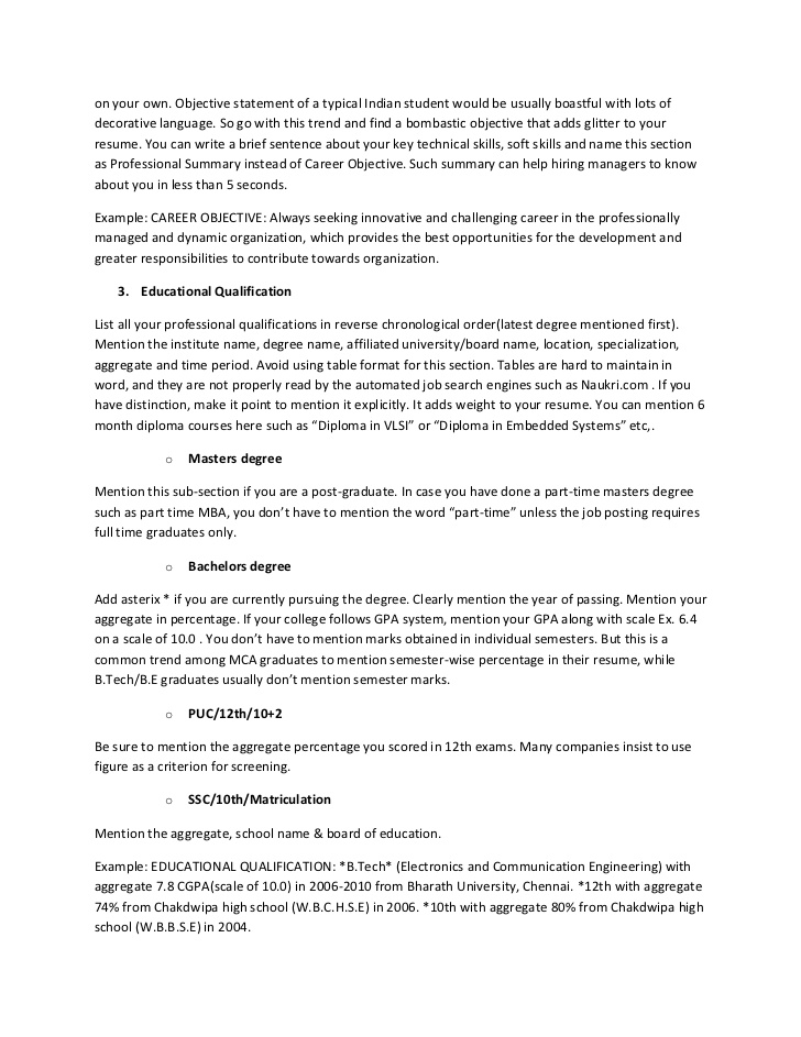 Resume For Internship Electronics And Communication Engineering