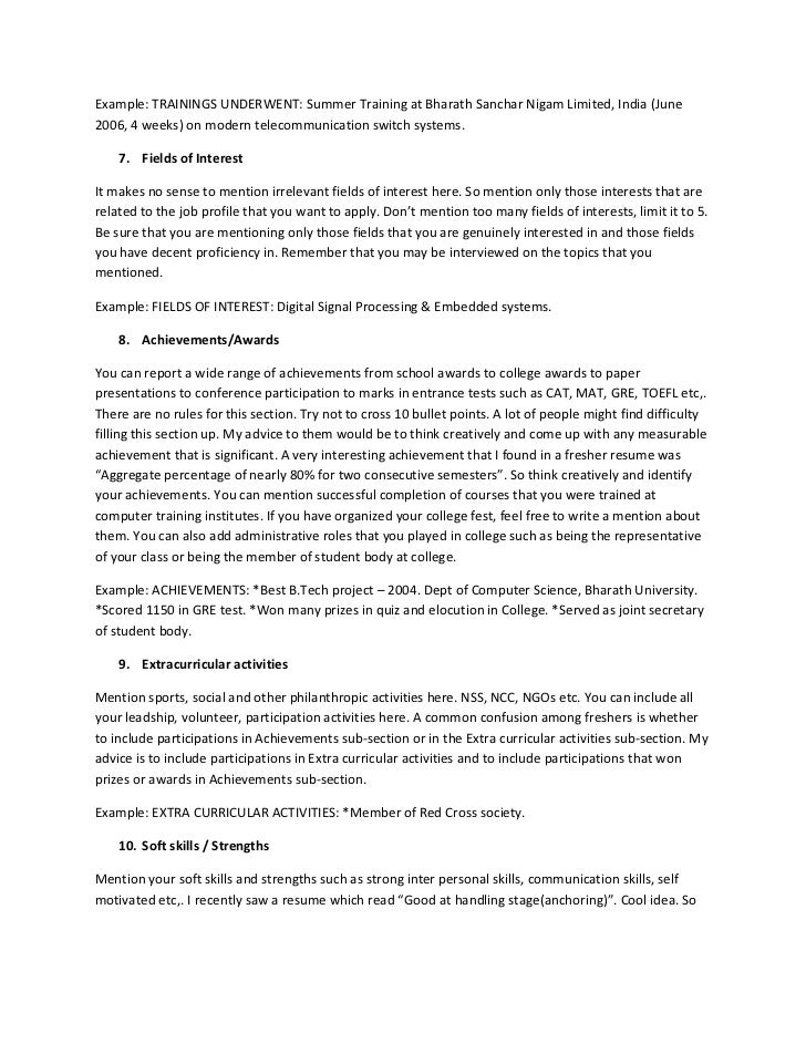 interests for a resume gallery resume format examples 2018
