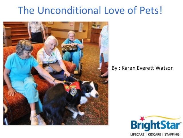 The Unconditional Love of Pets!                    By : Karen Everett Watson
