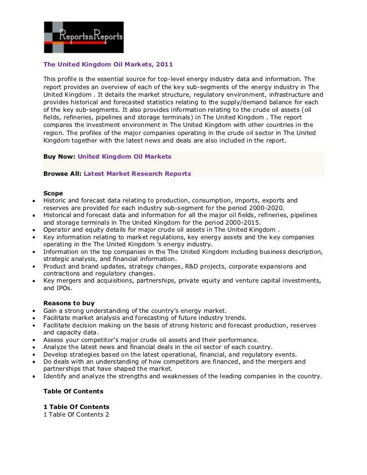 ReportsnReports – The United Kingdom Oil Markets, 2011