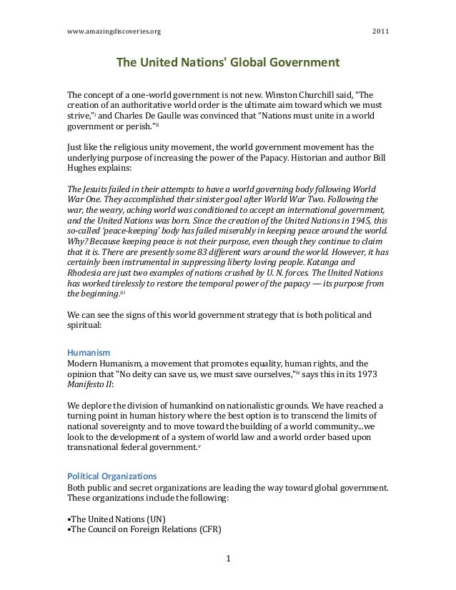 www.amazingdiscoveries.org	    	    2011	    	    1	    The  United  Nations'  Global  Government     	   	    The	   conc...