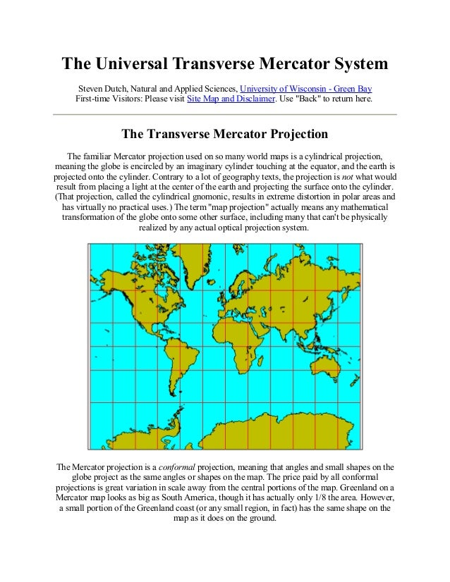 The Universal Transverse Mercator System Steven Dutch, Natural and Applied Sciences, University of Wisconsin - Green Bay F...