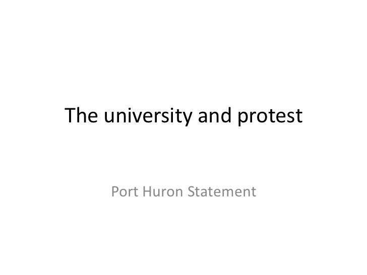 The university and protest<br />Port Huron Statement<br />