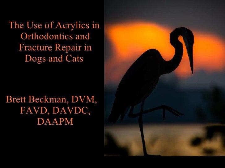 <ul><li>The Use of Acrylics in Orthodontics and Fracture Repair in Dogs and Cats  </li></ul><ul><li>Brett Beckman, DVM, FA...