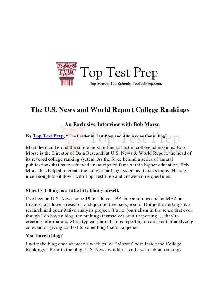 "The U.S. News and World Report College Rankings<br />An Exclusive Interview with Bob Morse<br />By Top Test Prep, ""The Lea..."