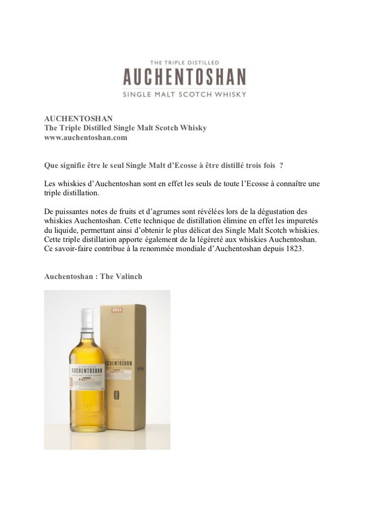 AUCHENTOSHANThe Triple Distilled Single Malt Scotch Whiskywww.auchentoshan.comQue signifie être le seul Single Malt d'Ecos...