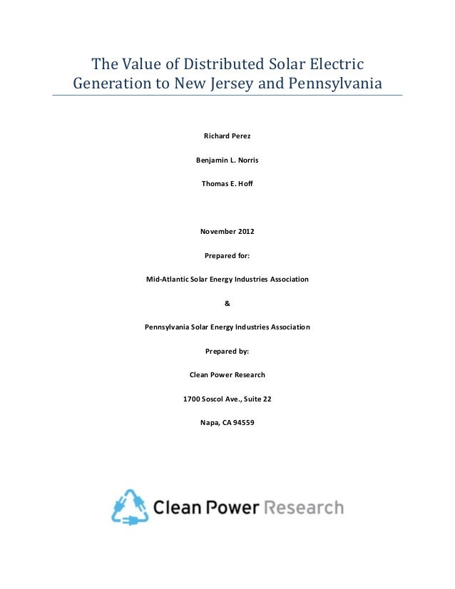 The Value of Distributed Solar Electric Generation to New Jersey and Pennsylvania   Clean Power Research