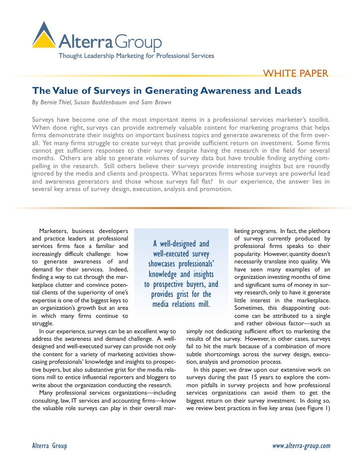 Alterra Group Insights:  The Value of Surveys in Generating Awareness and Leads By Bernie Thiel, Susan Buddenbaum and Sam ...