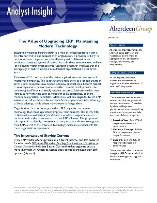 The value of upgrading ERP maintaining modern technology