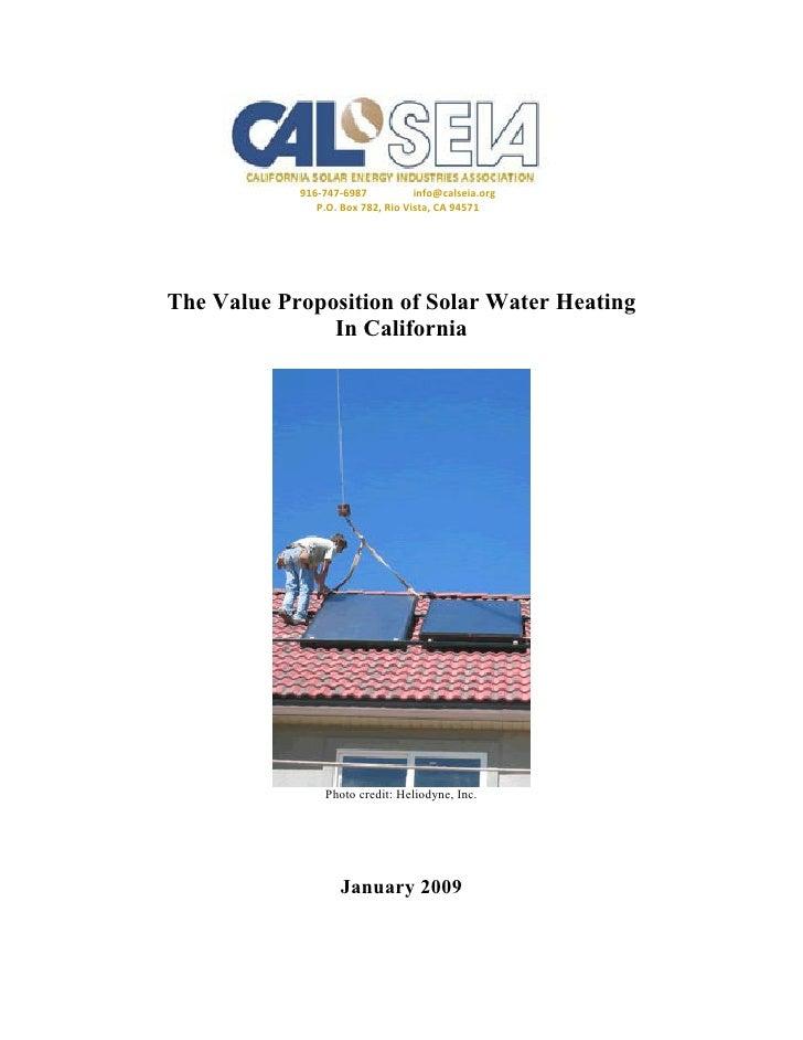 916-747-6987           info@calseia.org                P.O. Box 782, Rio Vista, CA 94571     The Value Proposition of Sola...