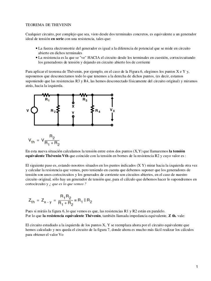 TEOREMA DE THEVENINCualquier circuito, por complejo que sea, visto desde dos terminales concretos, es equivalente a un gen...