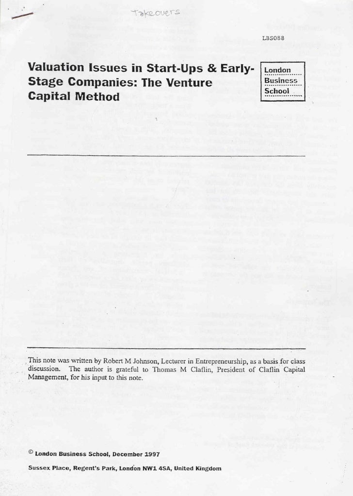 The Venture Capital Method