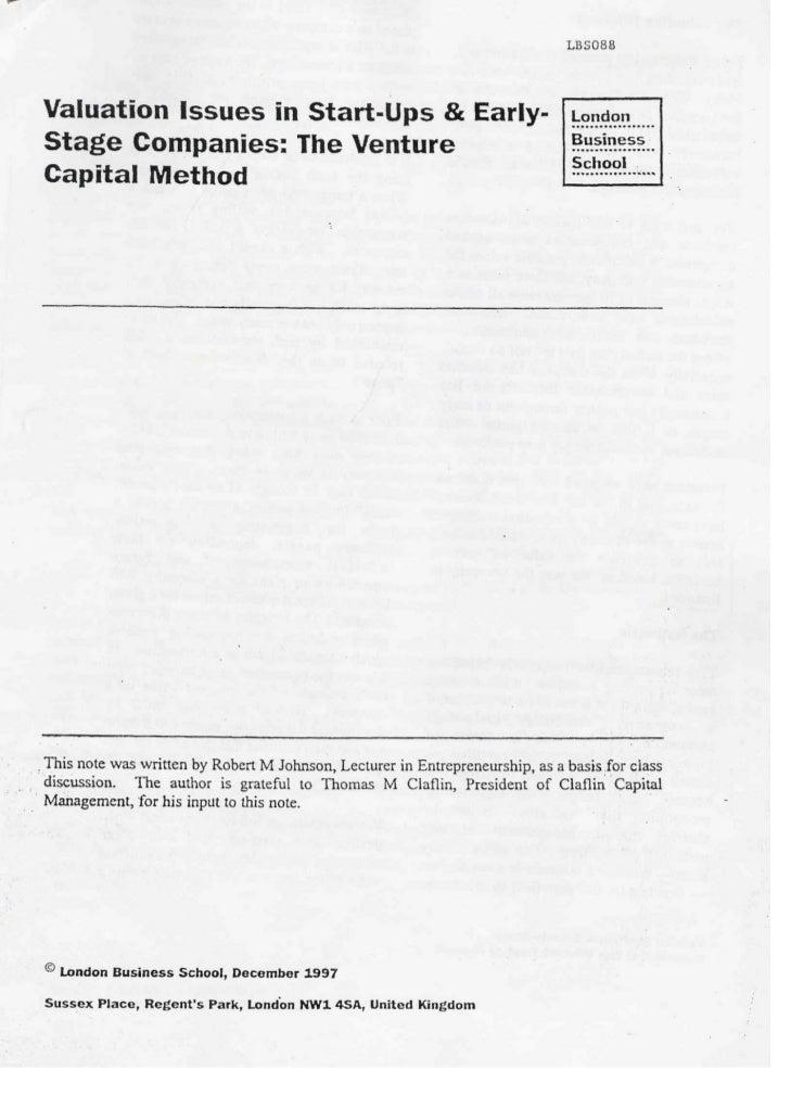 The venture capital method v1