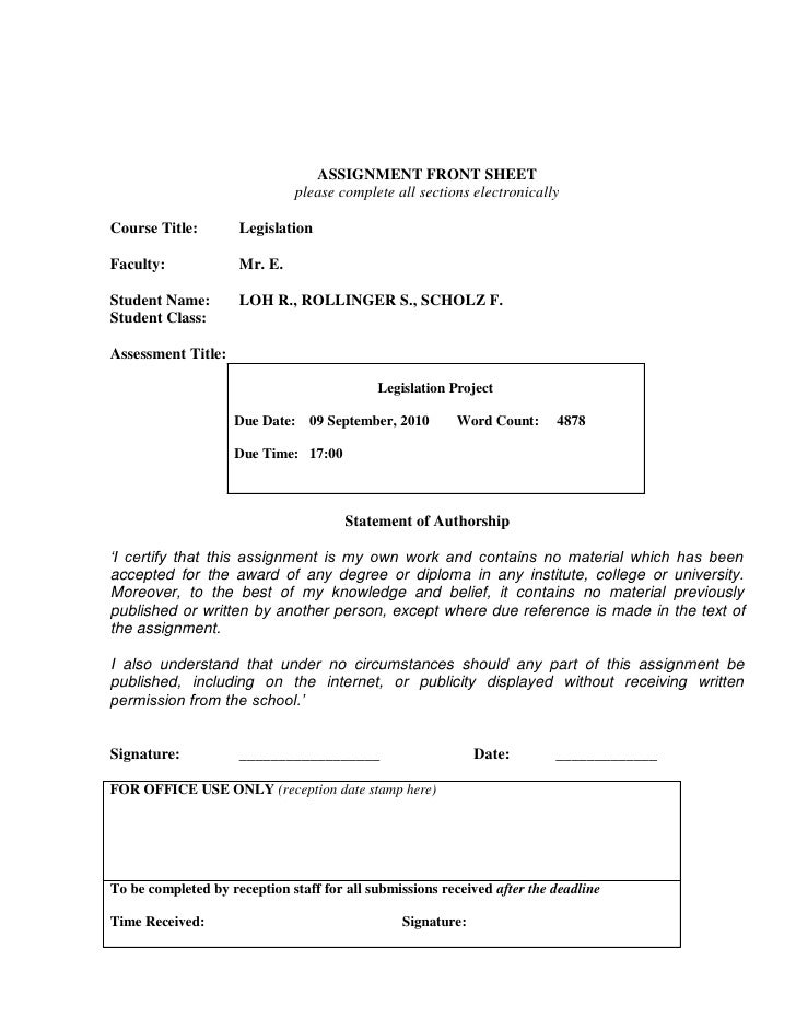 ASSIGNMENT FRONT SHEET                              please complete all sections electronicallyCourse Title:        Legisl...