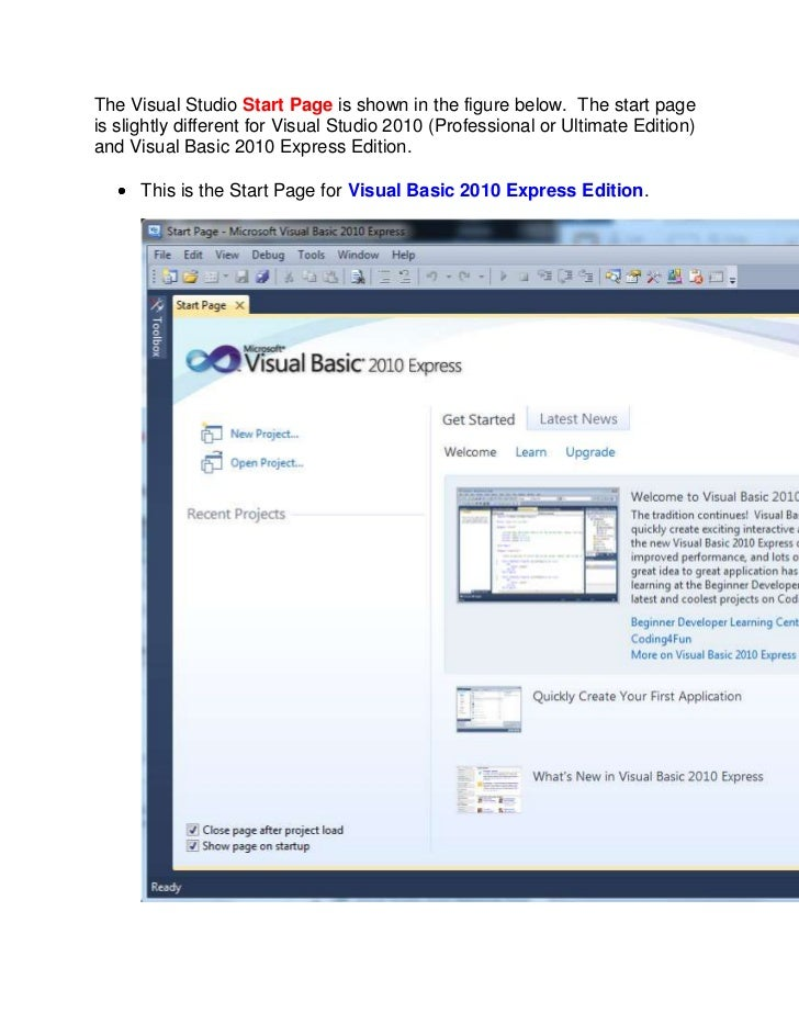 The visual studio start page is shown in the figure below