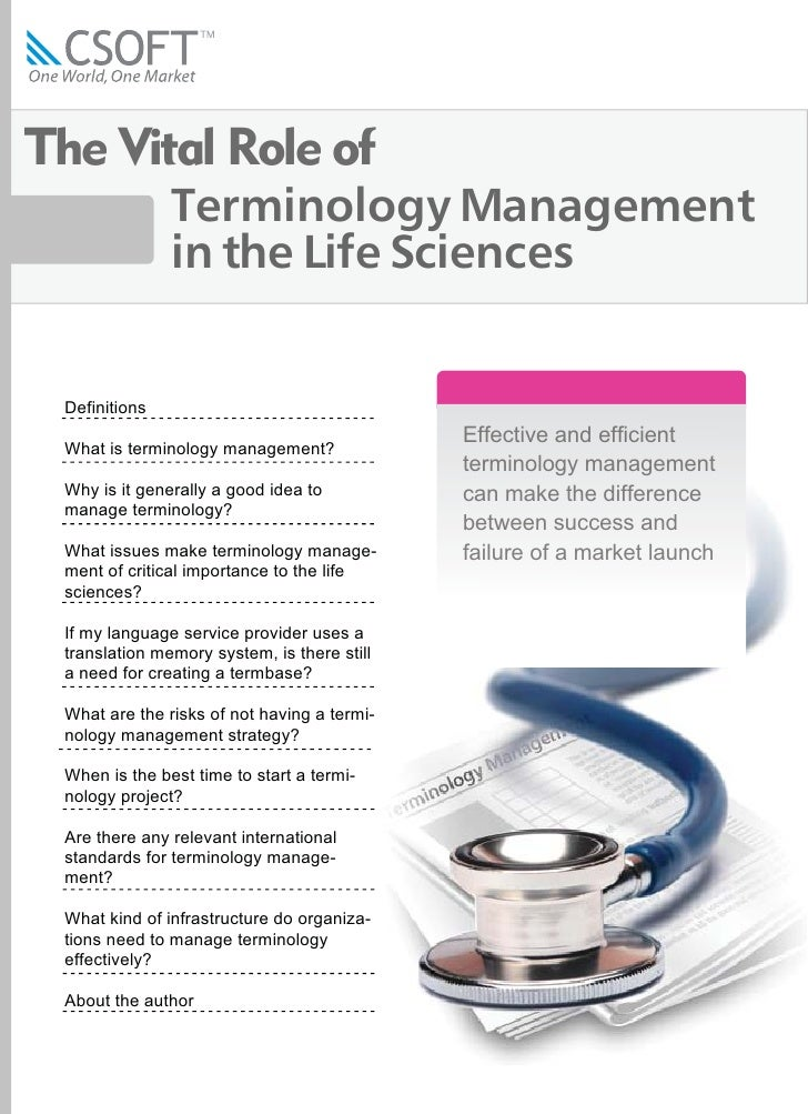 The Vital Role of                Terminology Management                in the Life Sciences    Definitions                ...