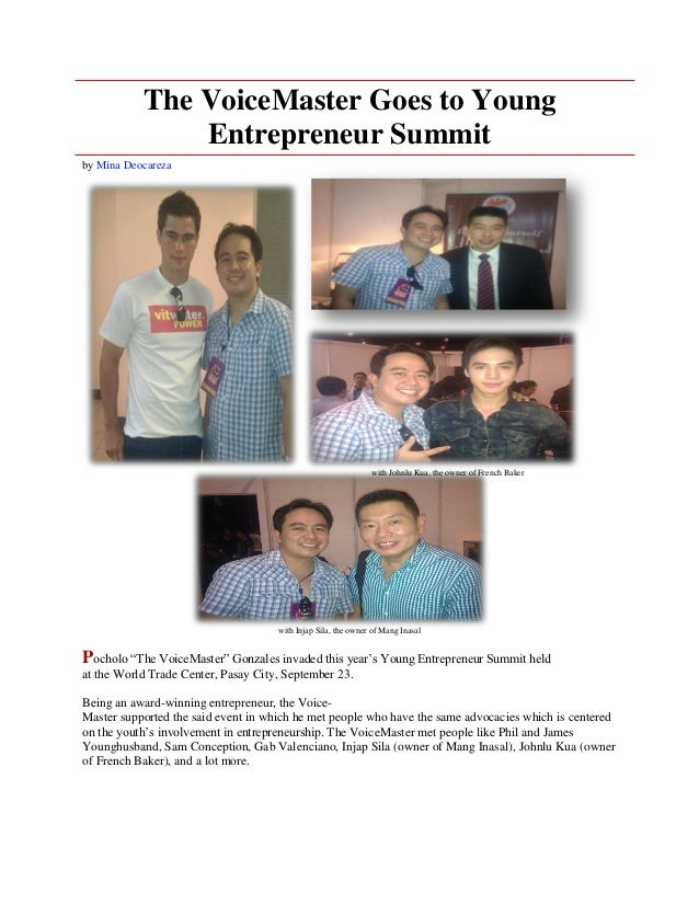 The VoiceMaster Goes to Young               Entrepreneur Summitby Mina Deocareza                                          ...