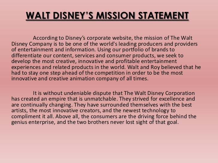 Walt disney mission statement and vision - The Waste Removal Company ...