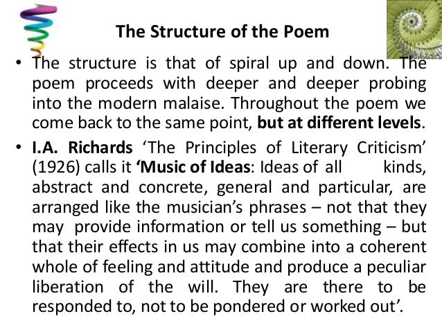 t s eliot preludes structure Extracts from this document introduction preludes by thomas stearns eliot preludes is a poem by ts eliot about what life was like in the beginning of the twentieth century.